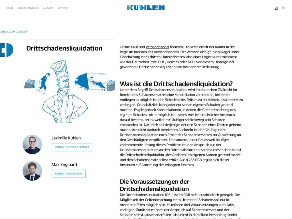 Glossar Illustration, Kanzlei Kuhlen Berlin, Drittschadensliquidation, Zeichnung, Anwalt, Anwälte, Illustration Rechtsbegriffe, Erklärung Illustration