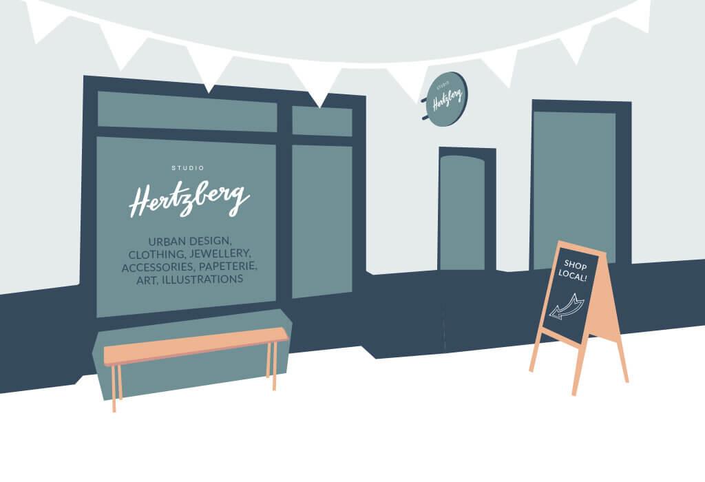 Denken und Handeln – die Konzeptagentur für langfristige Gestaltung hat den Flyer für das Studio Hertzberg illustriert und gestaltet