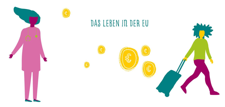 Fine Heininger. Illustration, Berlin, Spiel-Illustration, Deutscher Bundesjugendring, DBJR, EU und Du, YOUth ACTion, das Leben in der EU